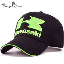 Red White Kawasaki Canada - Pump Queen Kawasaki MOTO GP Motorcycle Baseball Cap 3D K Letter Embroidered Snapbacks Hat Sun Cap Outdoor Racing Cool Sports
