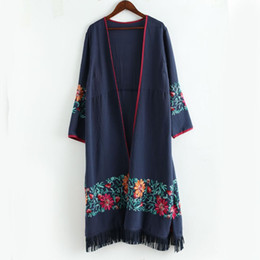 Discount tassel chinese - 2018 Thin Long Trench Jacket Cotton Linen Floral Embroidery Tassel Hem Chinese Style Vintage Long Sleeve Open Stitch Cas