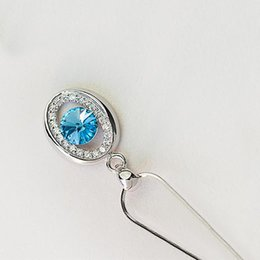 Discount only jewelry - Simple Style Attractive 0 Shape Blue Top Quality Cubic Zirconia 925 Sterling Silver Women Only Pendants Jewelry HERN0029