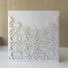 invitation pearl buckles Australia - 20pcs Laser cut Pearl Paper Christening Greeting Blessing card Birthdya PartyFlower Rose Design wedding Invitation Postcard Card