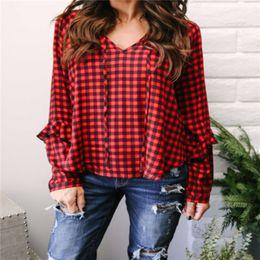 62489fc9ee6 Women Long Sleeve Loose Plaid Shirts Ruffles V Neck Chiffon Casual Blouses  Check Long Sleeve Ladies Top