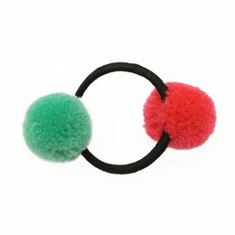 Gum Hair UK - 5Pcs Lot Double Pom Balls Girls' Hair Ties Ponytail Holder Kids Accessories Rope Rubber Hair Band Tie Gum