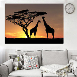giraffes picture NZ - Modern Canvas HD Prints Poster Home Decor Wall Art 1 Piece Pcs Deer Giraffe Sunset Landscape Paintings Animal Pictures Framework