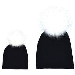 e04523e38d4 2018 2PCS set Mom Mother+Baby Pom Bobble Hat Kids Girls Boys Winter Warm  Beanie Hats Accessories