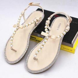 Discount shoes stone sandals - Brand women's sandals 2018 summer beaded stone pearl female sandals Rome flat sandwich toe women's sandals fla