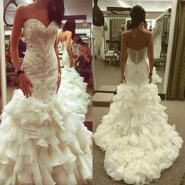 Bohemian Wedding Dresses Crystal Canada - 2018 Mermaid Wedding Dresses Luxurious Sweetheart Tiered Ruffles Lace Appliques Beaded Crystal Beach Backless Bohemian Dubai Bridal Gowns