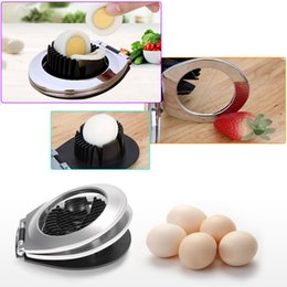 portable slicer Canada - 2 In 1 Stainless Steel Egg Slicer Eggs Cutting Slices and Wedges Kitchen Egg Fruit Tool Also For Slicing Strawberry Cheese Kiwi