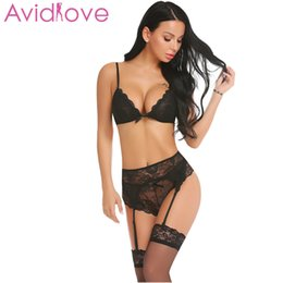 9e550774e4 Avidlove Women Sexy Costume Lingerie Lace Sheer with Garter Belts Set Teddy  Babydoll Y1892810
