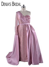 puffy shirt UK - 2018 Ball Gown Prom Dresses Blush Pink with Puffy Overskirt One-shoulder Long Sleeves Lace Pearls Flowers Arabic Bling Evening Formal Gowns