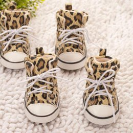Spring Fall Canvas Shoes Australia - Fashion casual Pet Leopard Shoes Dogs Walking Shoes Sneaker Anti-skidding Footwear Canvas Shoes for Teddy small and medium dogs