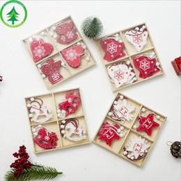 Gift Craft Christmas Ornament Australia - 12 pcs Lot 8styles Christmas Tree Ornaments Wood Chip Snowman Tree Deer Socks Hanging Pendant Christmas Decoration Xmas Gift Crafts