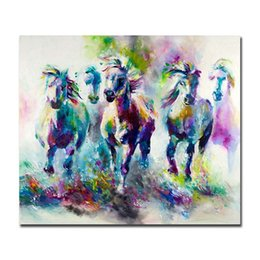 Horse wall paint modern online shopping - Colorful Abstract Horses Hand Painted Modern Home Decor Abstract Animal Wall Art Oil Painting On Canvas Multi sizes Frame Options al Dafe
