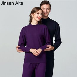 1a25fd4a03 Discount couple set sexy - Jinsen Aite 2018 Winter Couple Thermal Underwear  O-Neck Cotton