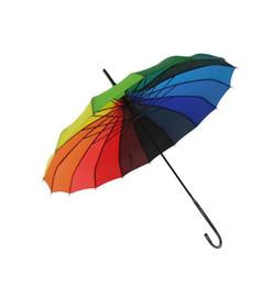 $enCountryForm.capitalKeyWord UK - 10pcs Fashion Rainbow Pagoda Palace Creative Umbrella Sun Rain Lady Princess Royal Long-handled Straight Golf Umbrella