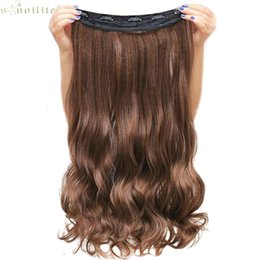 Discount piece long hair extensions clip - SNOILITE Lady Synthetic Curly Long Clip in Hair Extensions Half Full Head One Piece Hairpiece Black Brown Blonde