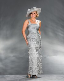 mother bride silver suits NZ - Elegant Silver Mother of the Bride Guipure Lace Dresses with Jacket Sheath Silver Gray Lace Taffeta Custom Made Yisha Lady