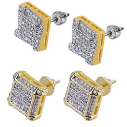 c392e557310 new design men earring 2019 - Earring Gold 18k Plated Hip Hop Earrings for  Men Square