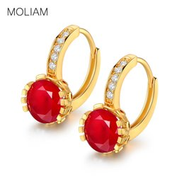 Wholesale Copper Hoop Earrings Canada - whole saleMOLIAM Fashion Shining Earing Gold-Color CZ Cubic Zirconia Copper Hoop Earrings For Women High Quality Jewelry MLE026