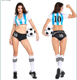 Women Costume Cheerleader UK - Sexy Lingerie Uniform Soccer Player Argentina Cheerleader World Cup Football Girl Fancy Dress Costume P2809
