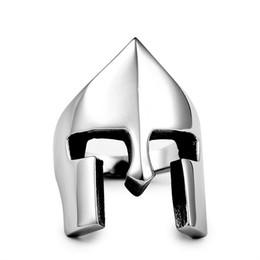 punk rings UK - Retro Spartan Helmet Mask Rings for Men Stainless Steel New Fashion Punk Rock Style Party Ring Size 7-14#
