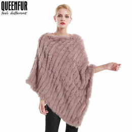 Knitted necK warmers for women online shopping - QUEENNFUR Winter Real Fur Poncho For Women Natural Knit Rabbit Fur O Neck Shawls Fashion Warm Cape