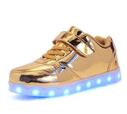 kids fashion winter shoes UK - Winter Shoes Mirro Golden Children Shoes USB Rechargeable Colorful Luminous Sneakers Fashion Sparkle Kids LED Shoes Boys and Girls