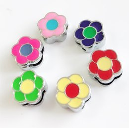 Free Shipping Enamel Charms Australia - Free shipping 10PCS 8MM Enamel Mixed color Flower Slide Charms Fit 8mm Wristband Belts Pet Collars Phone Strips Keychain