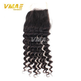 Queen Brazilian Deep Wave Hair Australia - Queen Hair Brazilian Deep Wave Closure Middle Part Brazilian Virgin Hair Closure 4x4 Swiss Silk Curly Human Hair Lace Closure