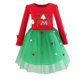 Discount red sequin hats - Baby girls Dress Long sleeve Sequin christmas hat dress children Pompom Tutu lace Tulle princess dresses Autumn kids Clo