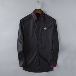 9f369b6e3a Camisas de lujo para hombre Borlas de moda Camisas de vestir de manga larga  bordadas Marca Classic Turn Down Neck Tops de negocios