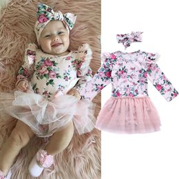 $enCountryForm.capitalKeyWord NZ - Baby girl pink floral romper lace tutu dress with headband long sleeve Spring Autumn cute baby girls clothes toddler dresses outfit 0-24M