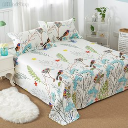 pink floral full size bedding 2019 - Hot Sale Floral Birds Bed Sheet 100% Cotton Mattress Protector Cover Flat Sheet 1 Piece Soft Bedspread Twin Full Queen K