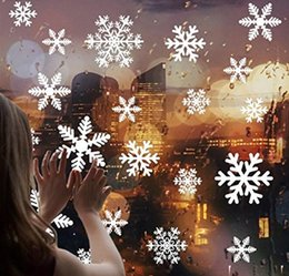 Discount christmas glass window wall - Snow Flakes Window Stickers Christmas Wall Window Sticker Snowflake Xmas Decoration Removable Mall Glass Window Stickers