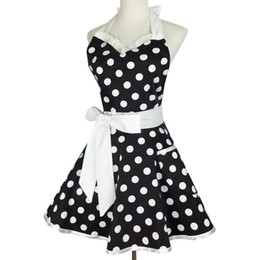 Cute aprons poCkets online shopping - Korean Xiumood Retro Cute Sexy Waiter Apron Dress With Pocket Cotton White Lace Black Polka Dot Kitchen Chef Cooking Aprons For Woman