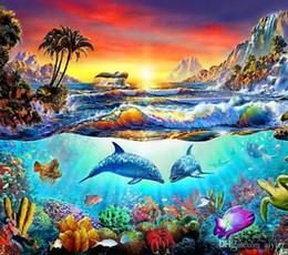 5D DIY Diamante Bordado Cheio Quadrado Rodada Pintura Diamante À Beira Mar Oceano Dolphin Ponto Cruz Moda Artesanato Presente Decoração de Casa Animal venda por atacado