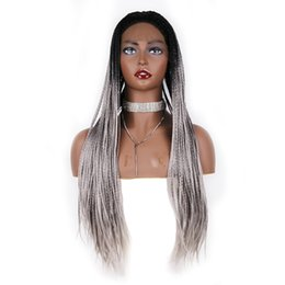 Discount grey woman wig - Top Free Parting Long Box Braided Lace Front Wig Heat Resistant #1b grey Ombre Braiding Synthetic Full Density Wigs For