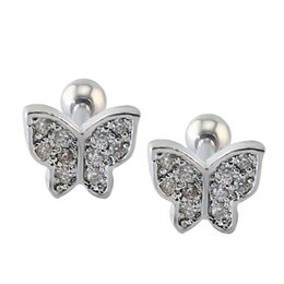 China Butterfly Cartilage Earring Piercing Jewelry Cute Stud Earrings for Girls Helix Piercing Cubic Zirconia Ear Studs suppliers