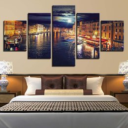 Boat Landscape Oil Painting UK - Home Decor HD Prints Canvas Poster Framework 5 Pieces Venice Water City Night Scene Paintings Wall Art Boat Pictures Living Room