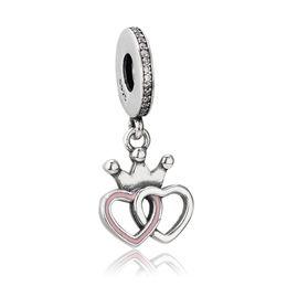 Bracelet Orchids UK - Authentic 925 Silver Beads Crowned Hearts Dangle Charm Orchid Pink Enamel&Clear CZ Fits European Pandora Style Jewelry Bracelets & Necklace
