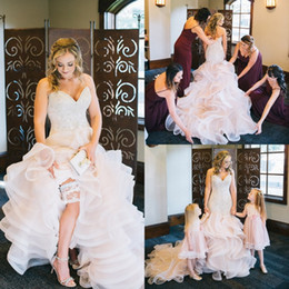 $enCountryForm.capitalKeyWord NZ - 2018 Mermaid Wedding Dresses Sweetheart Sparkly Beaded Crystals Organza Ruffles Pink Bridal Gowns Plus Size Garden Custom Made Dress