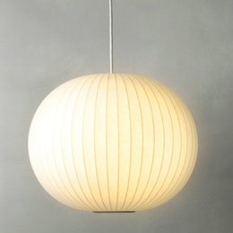 Wholesale George Nelson E27 LED Round ball White Silk Pendant Light D30 cm White Silk Pendant Lights Lamp LED White Silk ball hanging Lighting