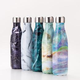 Vente en gros 500 ml 17 oz en marbre coloré Cola en forme de bouteille d'eau en acier inoxydable à double paroi sous vide en acier inoxydable de coke d'eau Bowling bouteilles 170822