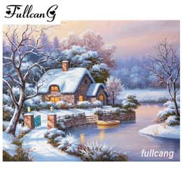 Snow houSe painting online shopping - FULLCANG diy d diamond mosaic cross stitch diamond embroidery snow house full square diamond painting needlework D309