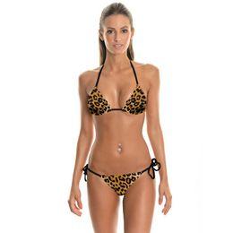 Girls Thong Bikinis Canada - New Design Fashoin Leopard 3D Prints Sexy Girl Summer Thongs Ropes Bikini Set Swimsuit Swimwear Women Bathing Suit Bikini Two-Piece Suits