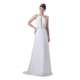 China Latest White Chiffon A-Line Wedding Gown Beaded Halter Neck Zip Back Competitive Price Long Bridal Dress cheap sheer dresses prices suppliers