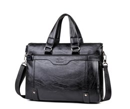 large leather laptop bags 2018 - Retro Large Leather Business Briefcase Laptop Handbag Men Shoulder Messenger Bag Briefcase High Capacity Crossbody Trave