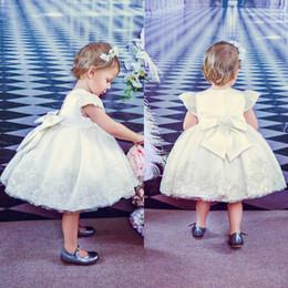 $enCountryForm.capitalKeyWord Australia - Cute Short Sleeve Knee Length Baby Girl Clothes With Appliques Zipper Back Bowknot Decoration Formal Flower Girl Dresses For Wedding