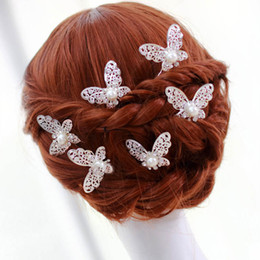 butterfly hair comb wholesale Canada - LNRRABC 3pcs Women Alloy Hair Sticks Wedding Bridal Bridesmaid Rhinstone Crystal Hair Pins Clips Butterfly Type U Design Comb