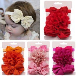 Wholesale MUQGEW Bany headband Kids Elastic Floral Headband Hair Girls baby Kawaii Bowknot Solid for hair turban Headwear Set