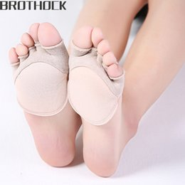 thin cotton toe socks 2019 - Brothock five finger socks female cotton summer thin invisible high heels short half palm socks shallow mouth boat toe c